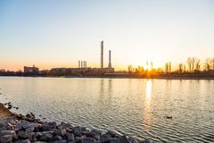 Urban landscape with factory. Outdoors stock photos