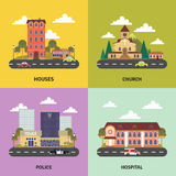 Urban landscape 4 flat icons banner Royalty Free Stock Photos