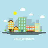 Urban landscape flat style day Stock Images