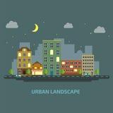 Urban landscape flat style night Stock Photos
