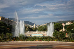 Urban landscape with fountains Royalty Free Stock Photos