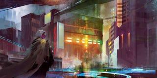 Urban landscape of the future cyberpunk Stock Image