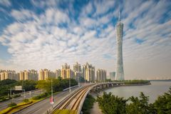 Urban Landscape of Guangzhou city at sunshine day, China.  royalty free stock photos