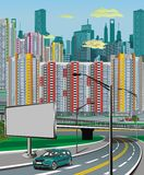 Urban landscape - the highway on the background of the metropolis. The car on the road. Vector illustration Royalty Free Stock Photos