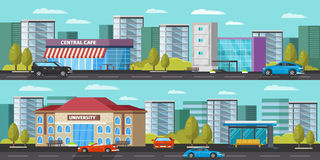 Urban Landscape Horizontal Banners. With cars trees cityscape and modern municipal buildings vector illustration stock illustration