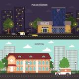 Urban landscape horizontal banners set Stock Image