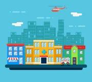 Urban Landscape Hospital Shop Residential House. Street Background Flat Design Vector Illustration Royalty Free Stock Images