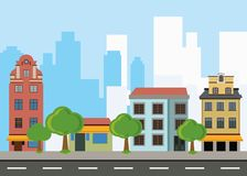 Urban landscape with housesand large modern buildings at Background. Vector illustration royalty free illustration