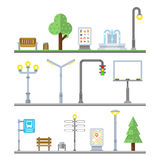 Urban landscape icons. Traffic lights lanterns, bench and fountain street elements Stock Photos