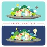 Urban landscape illustration in flat design Royalty Free Stock Image