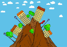 Urban Landscape. Illustration of the urban landscape in wild mountains Royalty Free Stock Photo