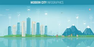 Urban landscape with infographic elements. Modern city. Smart city. Concept website template. Vector Stock Photography