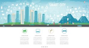 Urban landscape with infographic elements. Modern city. Smart city. Concept website template. Vector Stock Photos