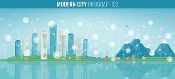 Urban landscape with infographic elements. Modern city. Smart city. Concept website template. Vector Royalty Free Stock Photos