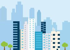 Urban landscape with large modern buildings. Concept city and suburban life. Vector illustration vector illustration