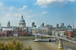 Urban landscape with Millennium Bridge in London Royalty Free Stock Photos