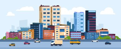 Urban landscape. Modern cartoon cityscape with buildings cars and street, flat urban downtown background. Vector city