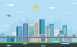 Urban landscape. Modern city. Building architecture, cityscape town. Vector stock illustration