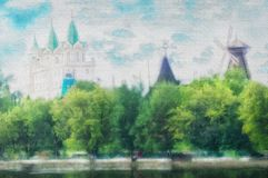 Urban landscape Moscow- abstract brush strokes paint Stock Images