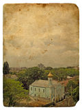 Urban landscape. Old postcard Stock Photos