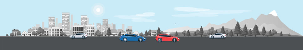 Urban Landscape Panorama Street Road with Cars and City Nature B. Flat vector cartoon style illustration of urban landscape street with cars, skyline city office Royalty Free Stock Images