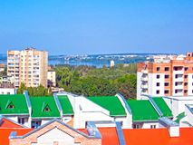 Urban landscape. Panoramic view landscape of a small town royalty free stock photography