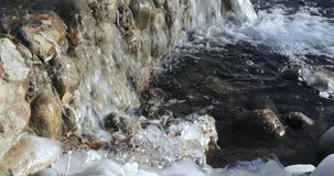 Cascade pond in the park. In the urban landscape park Yuzhnoye Butovo, the freezing cascade pond stock footage