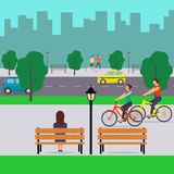 Urban landscape and people. City street with cars, cyclists, pedestrians, trees, tall buildings, benches, streetlights. Vector ill stock illustration