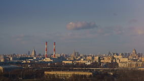 Urban landscape with pipes. High-rise buildings, the Ostankino TV tower, the view from the mountains vorobevyh stock footage
