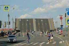 Urban landscape with raised bridge. Royalty Free Stock Photo