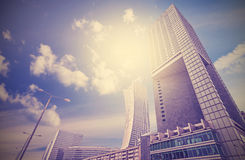 Urban landscape in retro style, Warsaw skyline Stock Photo