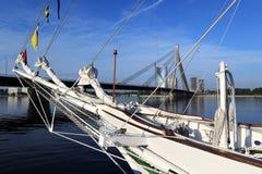Urban landscape with Cable bridge and Daugava river, Riga - Latvia Stock Image