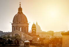 Urban landscape of Rome against the background of sunset. Royalty Free Stock Image