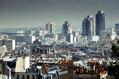 Urban landscape. With rooftops and high rises in the background. Paris, France Stock Photo