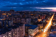 The urban landscape of russia. View of the city from the roof of the Russian city of Kirov Royalty Free Stock Photo