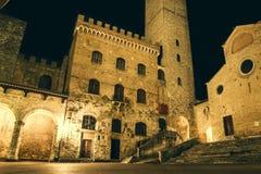 San Gimignano. Urban landscape about San Gimignano at night. Tuscany, Italy Stock Photos