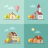 Urban landscape set of buildings. stock illustration