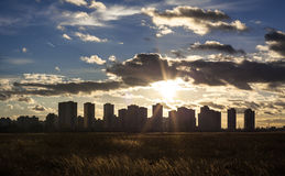 Urban landscape. Silhouettes of Kyiv high-rise buildings Stock Photos