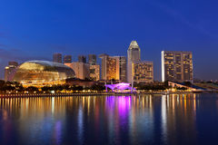 Urban landscape of Singapore at night  Stock Image