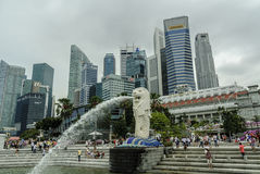 Urban landscape Singapore. Urban scenery with skyline of the bay the Merlion, animal symbol of the city of Singapore Royalty Free Stock Image