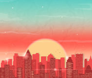 Urban landscape with skyscraper. Sunset in city. Vector background Stock Images
