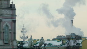 Urban landscape with smoke. The urban landscape with the smoke stock video footage