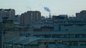 Urban landscape with smoke stock video footage