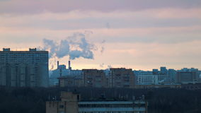 Urban landscape with smoke stock video
