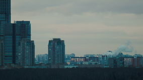 Urban landscape with smoke stock footage