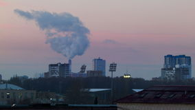 Urban landscape with smoke. The urban landscape with the smoke stock video