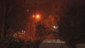Urban landscape - snowfall in the winter night the northern city. Urban landscape - snow-covered trees and shrubs in the town street on the background of stock footage