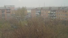 Urban landscape with snowstorm. In spring time stock footage