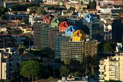 Urban landscape with some colored building. Style 80s in Cagliari Royalty Free Stock Photo