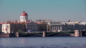 Urban Landscape St. Petersburg. A view of the Exchange bridge and the dome of the Museum of Literature stock footage